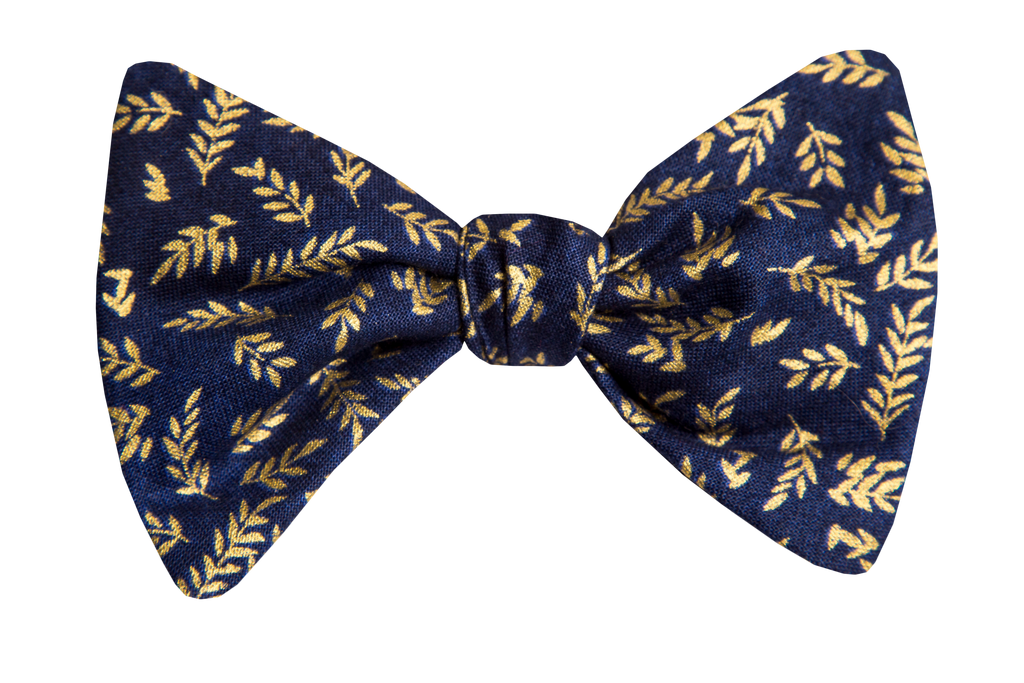 Gold Leaf on Navy Adult Bow Tie