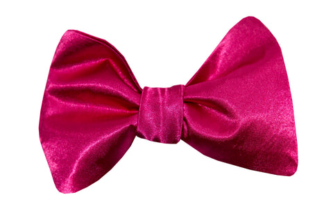 Hot Pink Satin Bow Tie