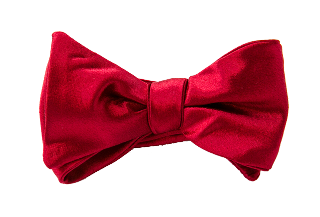 Dark Red Satin Bow Tie
