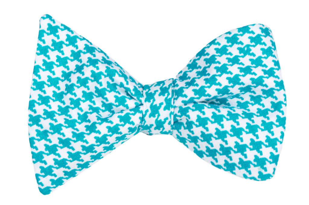 Teal Houndstooth Adult Bow Tie
