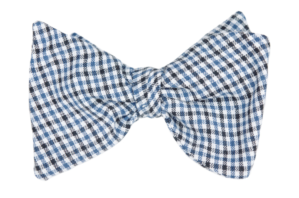 Blue and Black Gingham Youth Bow Tie