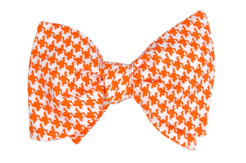 Orange Houndstooth Adult Bow Tie