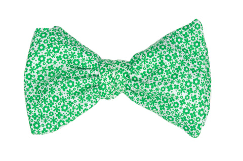 Green Floral Patch Adult Bow Tie