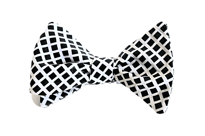 Black & White Blocks Bow Tie