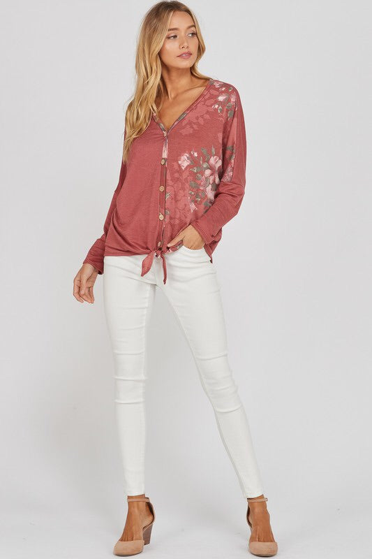 Long Sleeve Contrast Floral Button Up Top with Tie Detail
