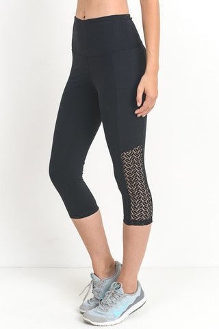 High Waist Side Lace Capri Activewear