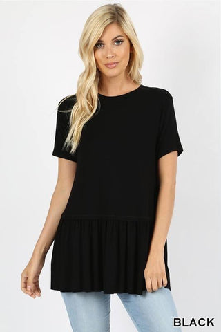 Ruffle Bottom Short Sleeve Top