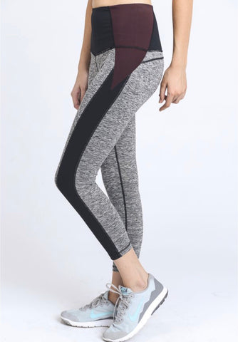 High Waist Color Block Contrast Legging