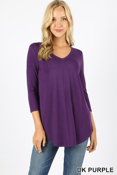 Premium Fabric 3/4 Sleeve V-Neck Round Hem Top