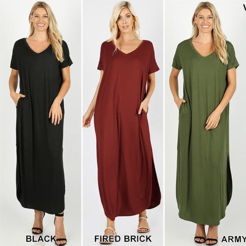 Viscose Side Slit V-Neck Short Sleeve Maxi Dress