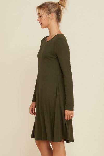 Solid Long Sleeve Swing Dress with Pockets