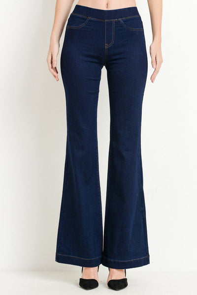 Elastic Band Flare Jeans
