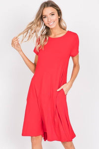 Knit Solid A Line Baby Doll Midi Dress