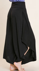High Waist Wide Leg Pant with Side Slits and Pockets
