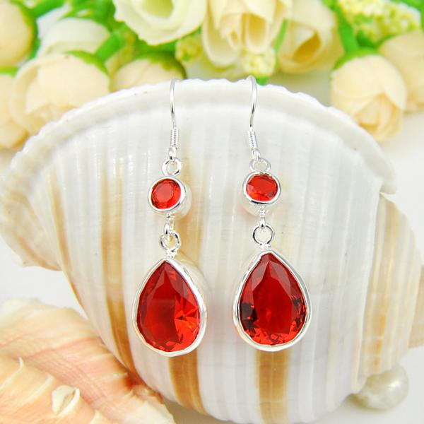 FIRE RED GARNET SILVER PLATED DANGLE EARRINGS 2""