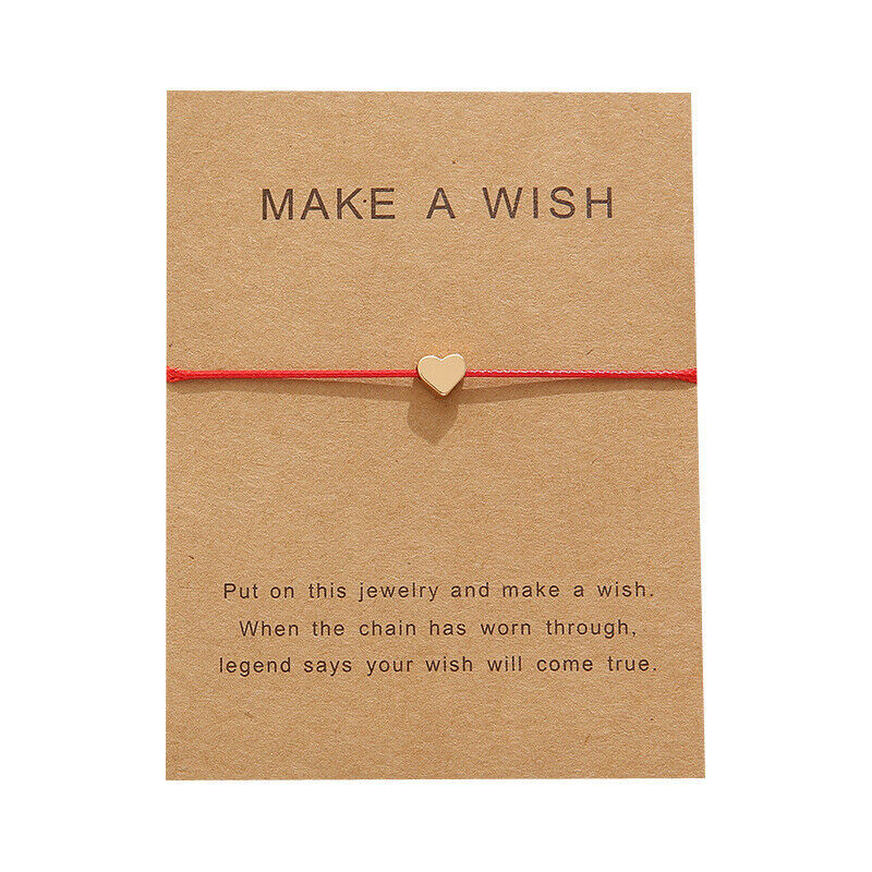 """Make A Wish"" Gold Heart Note Card Red String Bracelet"