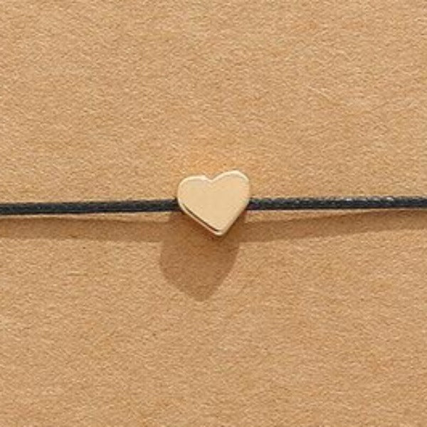 """Make A Wish"" Gold Heart Note Card Black String Bracelet"