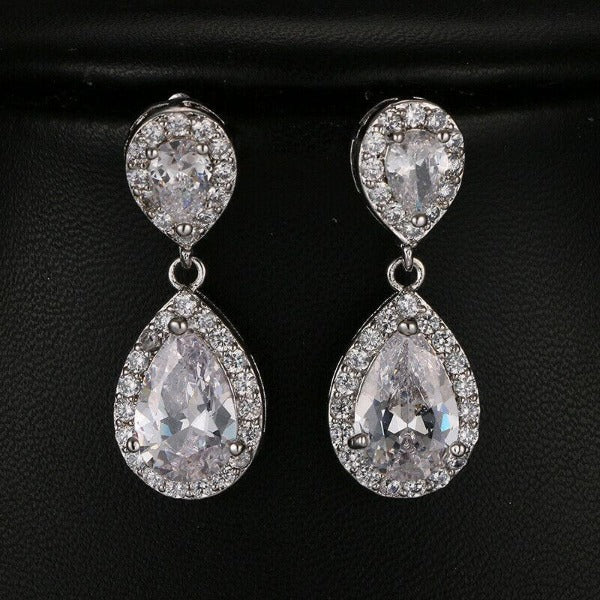 White Crystal Rhinestone Silver Teardrop Dangle Earrings
