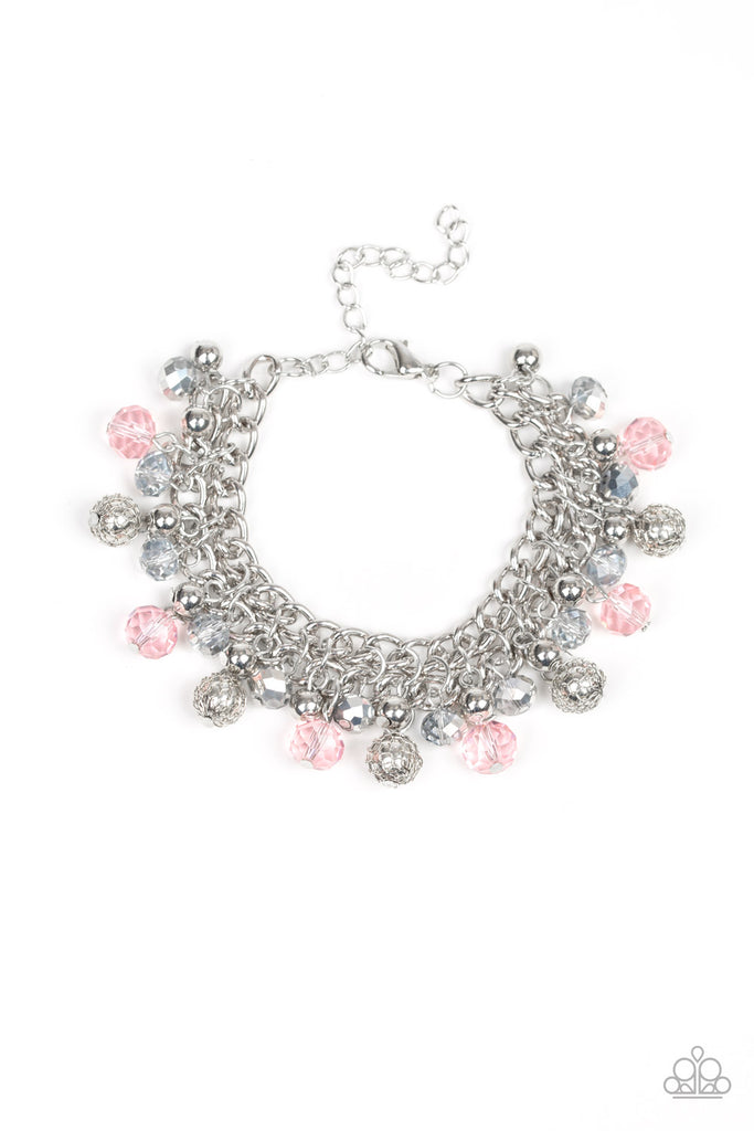 """The Party Planner - Pink"" Silver Beaded Bracelet"