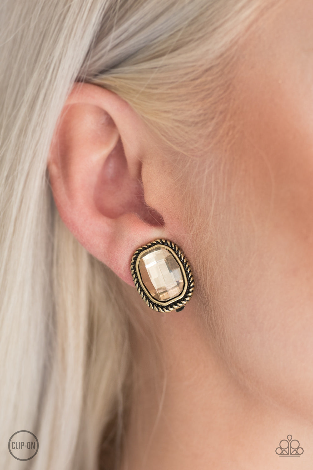 """Beam Dream""  Faceted Faux Topaz Brass Clip-On Earrings"