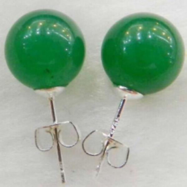 10mm Natural Green Jade Round .925 Sterling Silver Earrings