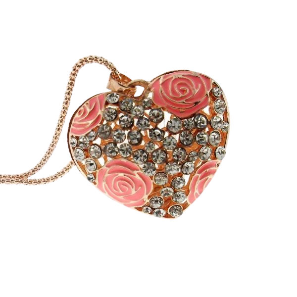 Betsey Johnson Pink Rose Heart Rhinestone Gold Pendant Necklace