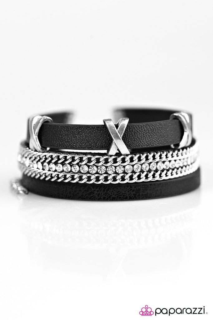 """Go The X-tra Mile - Black"" Leather Bracelet"