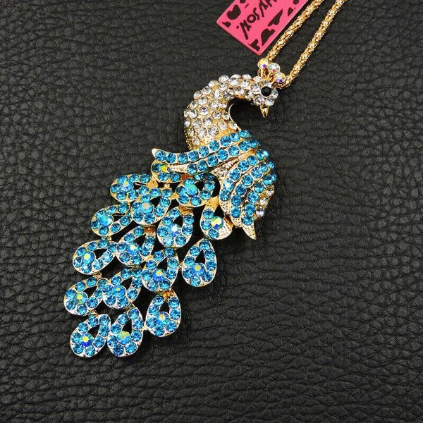 Betsey Johnson Peacock Blue Rhinestone Gold Pendant Necklace