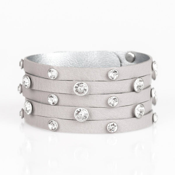 Paparazzi Reputation - Silver  Gray Wrap Bracelet