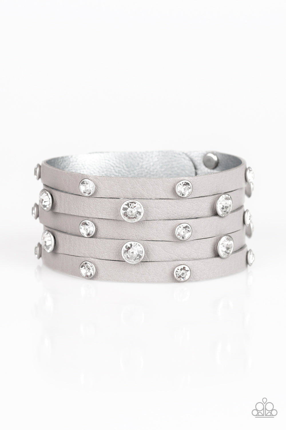 """Rhinestone Reputation - Silver""  Gray Wrap Bracelet"
