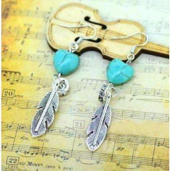 Turquoise Heart Silver Leaf Ring Dangle Earrings