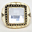Fleur de Lis Black, Ivory, Gold Big Bold Statement Ring Size 9