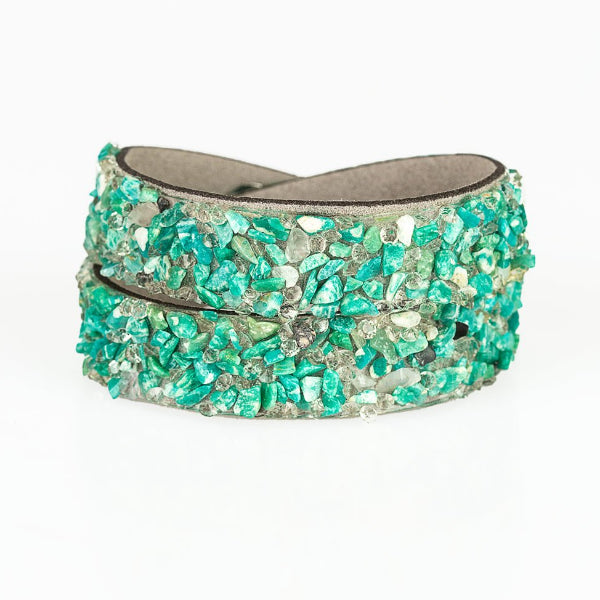 "Paparazzi ""Crush to Conclusions Green"" Crushed Rock Bracelet"