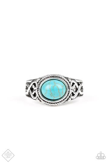 Paparazzi Set in Stone Blue Faux Turquoise Stretch Ring