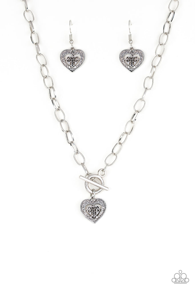 """Say No AMOUR"" Silver Heart Toggle Necklace & Earrings Set"