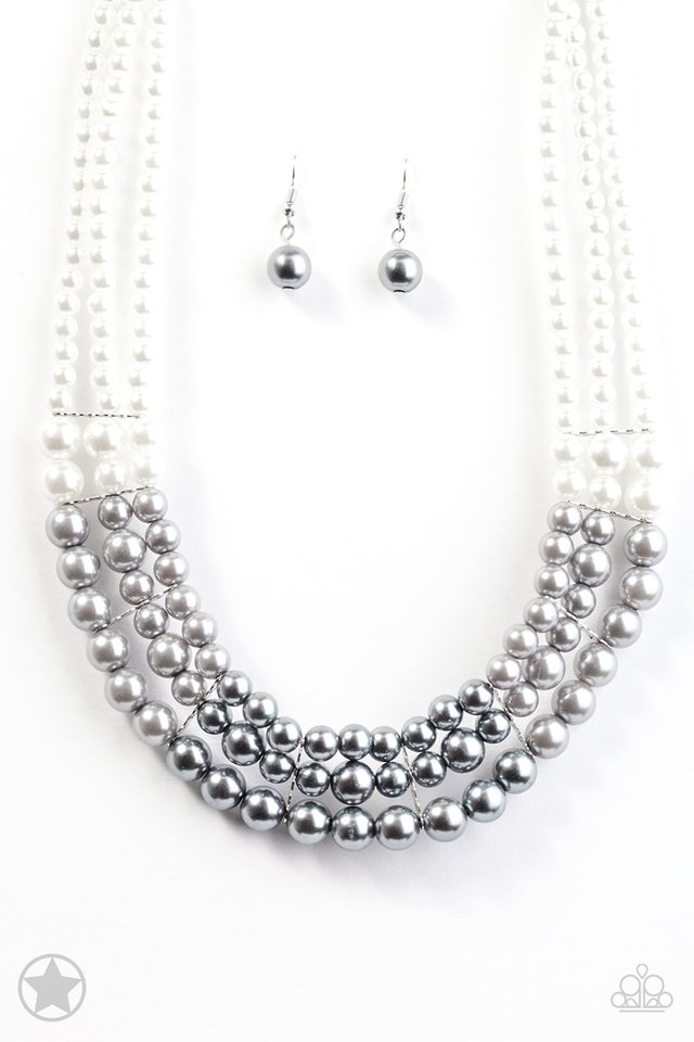 "Paparazzi ""Lady In Waiting""  White, Silver, Gray Pearl Necklace & Earring Set"