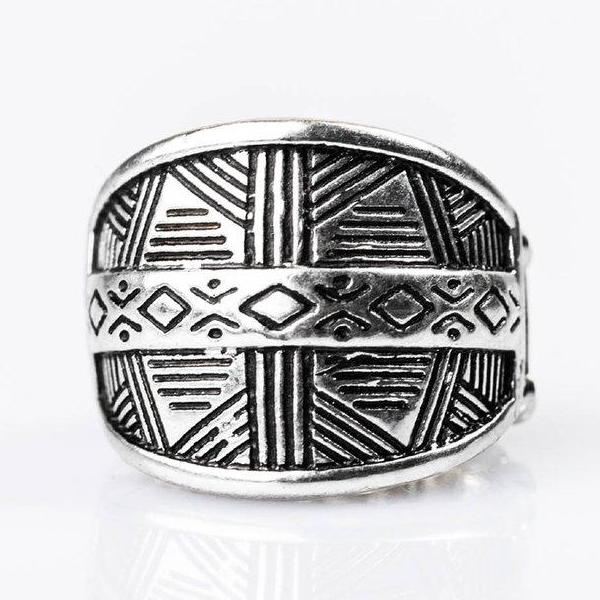 """Night At The Museum"" Silver Geometric Tribal Stretch Ring"