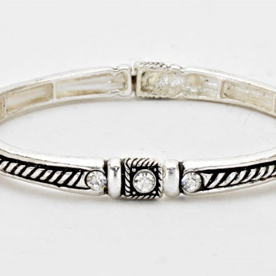 Crystal Accented - Antique Silver Trendy Fashion Stretchable Bracelet