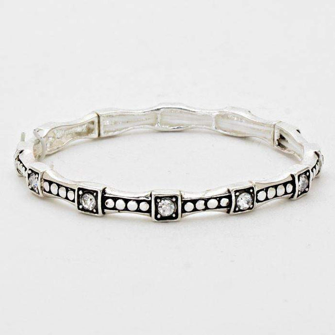 Crystal Accented Burnished Silver Stretchable Bracelet