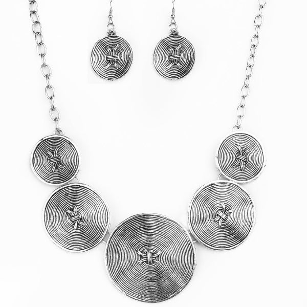 """Deserves A Medal - Silver"" Necklace & Earrings Set"