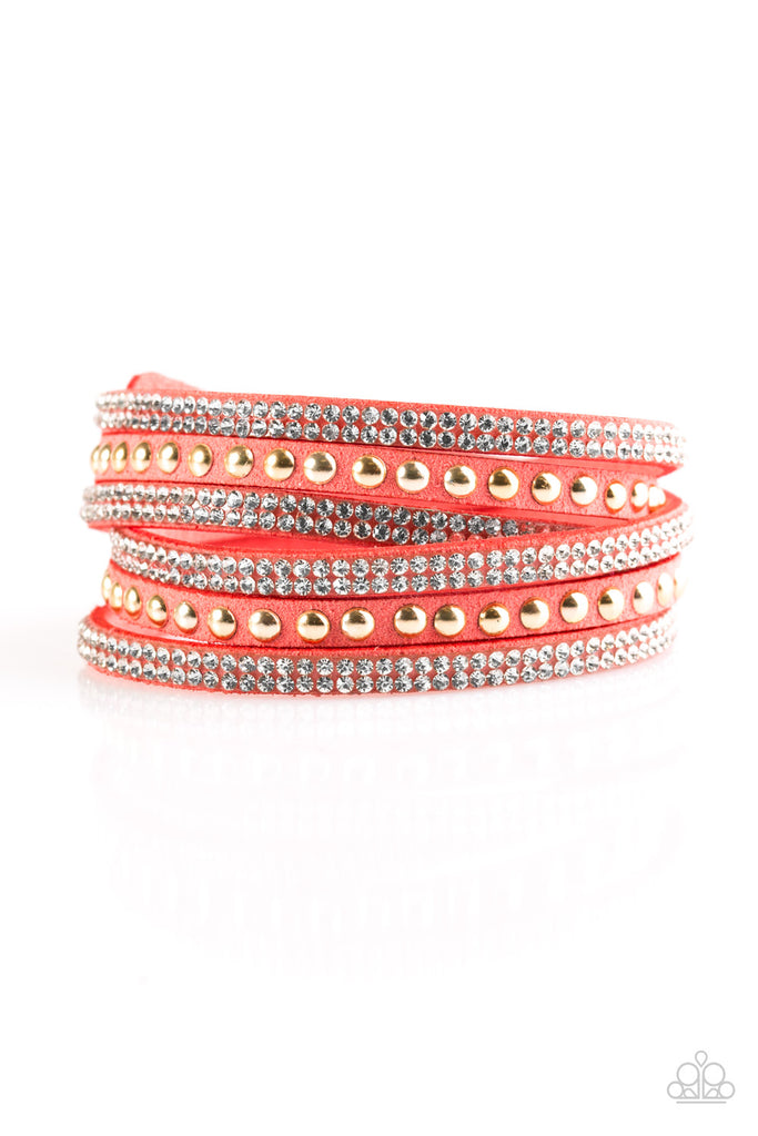 "Paparazzi ""I Bold You So - Orange"" Double Wrap Rhinestone Bracelet"