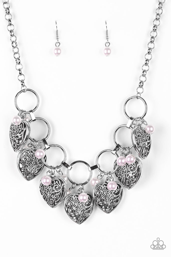 """Very Valentine"" Pink Bead Vintage Heart Silver Necklace Earrings Set"