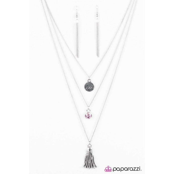 """Love Song"" Engraved ""love"" Pink Gem Necklace & Earring Set"