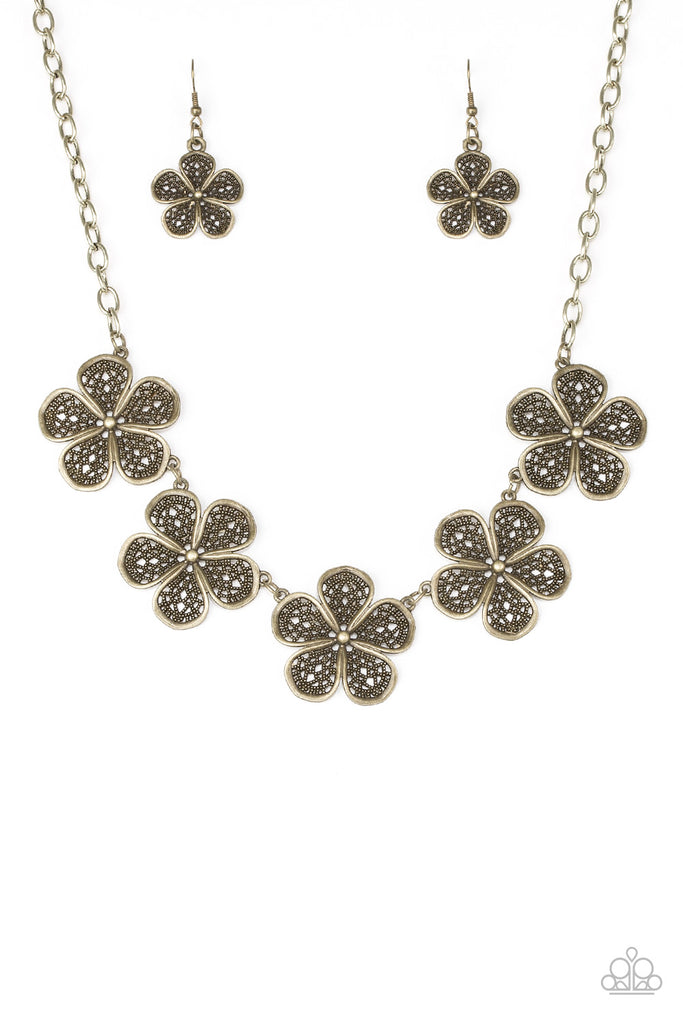 """No Common Daisy - Brass"" Lace-like Petals Necklace & Earrings Set"
