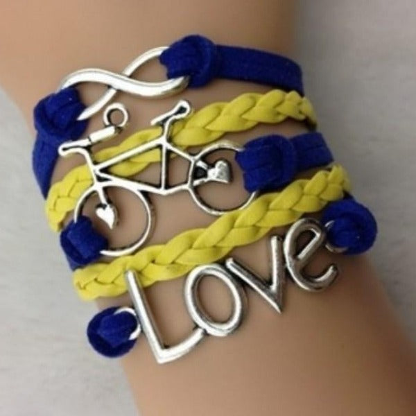 Navy Blue, Yellow, Love, Infinity, Bicycle, Silver Friendship Bracelet