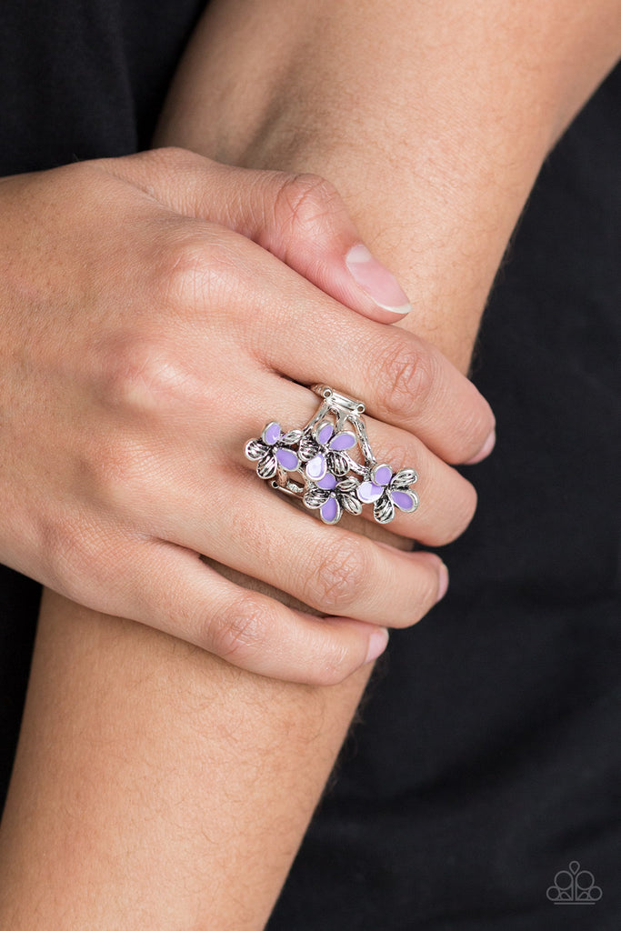 """Climbing Gardens - Purple"" Flower Stretch Ring"