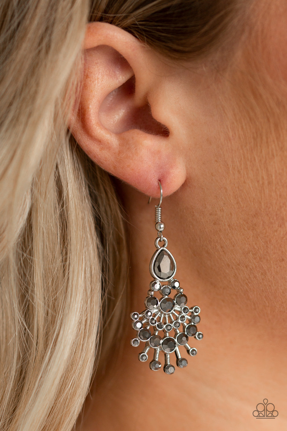"""Where's The Limo"" Silver Rhinestone Dangle Earrings"