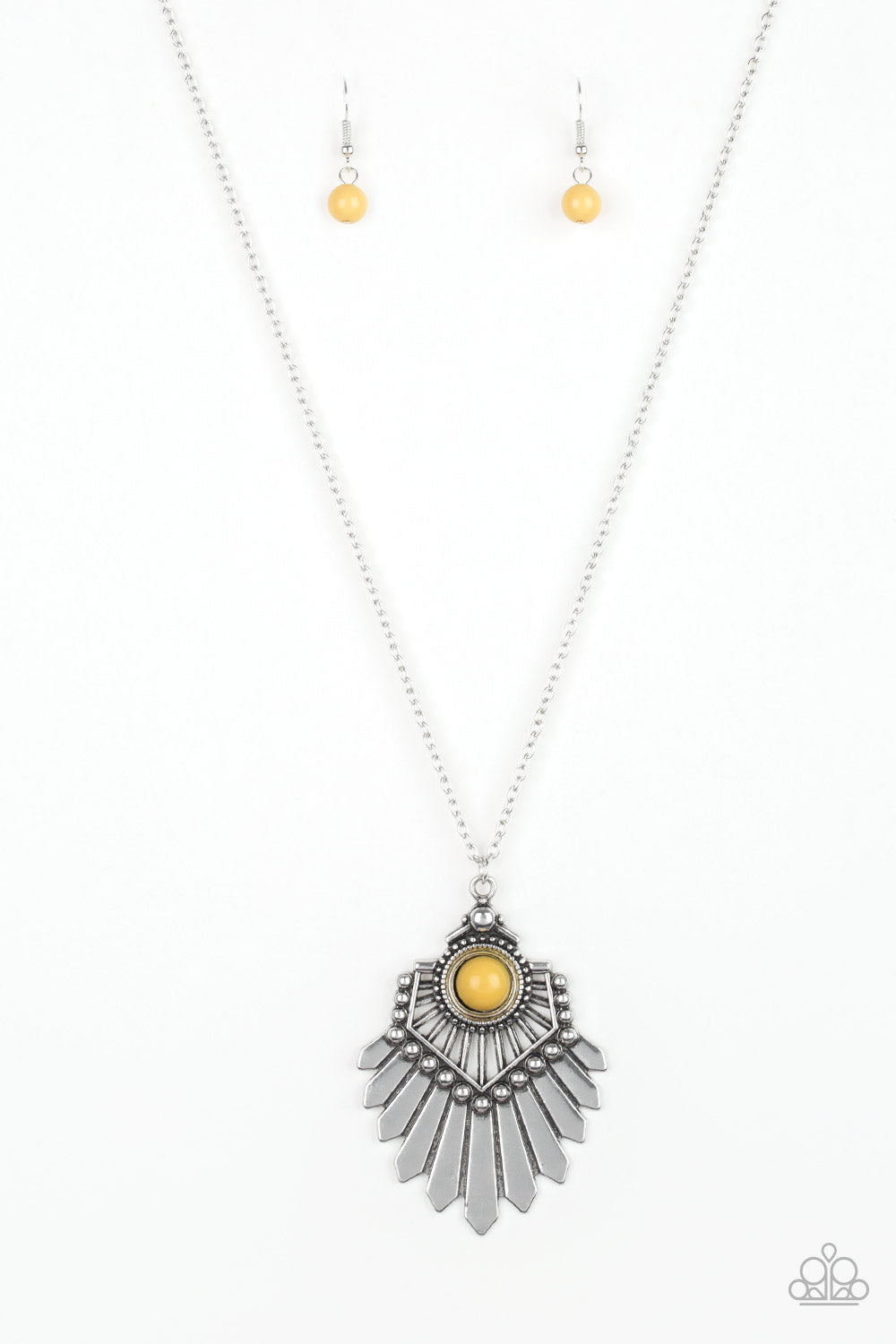 """Inde-PENDANT Idol - Yellow"" Silver Tribal Flair Necklace & Earrings Set"