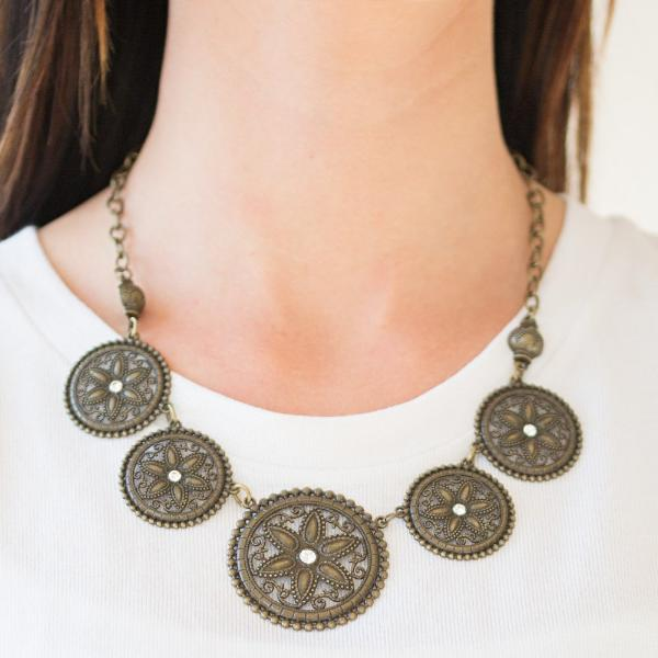 "Paparazzi ""Written In The STAR LILIES"" Brass Necklace & Earrings Set"