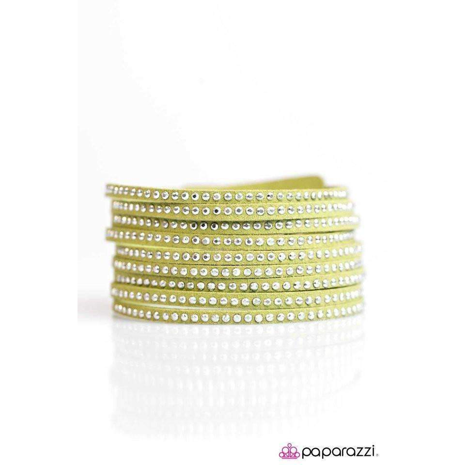"""Rebel Romance"" Green Flashy Silver Studs Sparkly Wrap Bracelet"